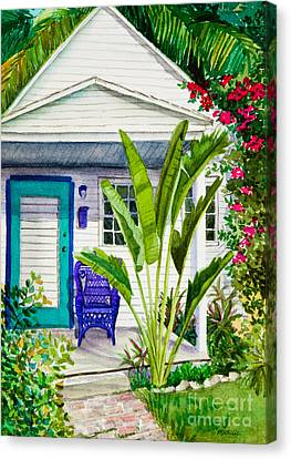 Key West Cottage Watercolor Canvas Print by Michelle Wiarda