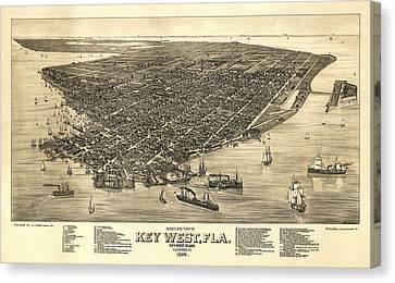Key West Florida Map 1884 Canvas Print by Daniel Hagerman