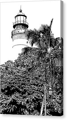 Key West Lighthouse Above Palm And Mimosa Trees Florida Black And White Stamp Digital Art Canvas Print by Shawn O'Brien