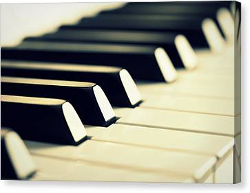 Keyboard Of A Piano Canvas Print by Chevy Fleet
