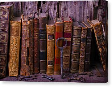 Keys And Books Canvas Print by Garry Gay