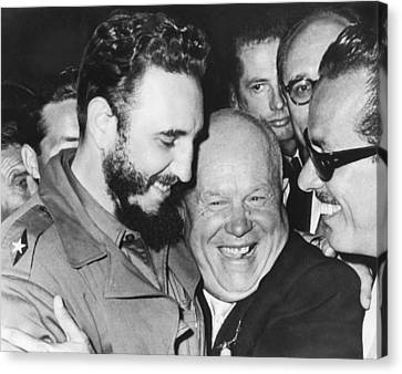 Khrushchev And Castro Canvas Print by Underwood Archives