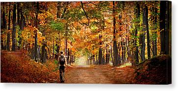 Kid With Backpack Walking In Fall Colors Canvas Print by Panoramic Images
