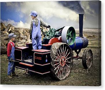 Kids And 1 2 Scale Case Steam Tractor Canvas Print by F Leblanc