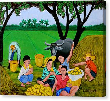 Kids Eating Mangoes Canvas Print by Cyril Maza