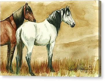 Kiger Mares Canvas Print by Linda L Martin