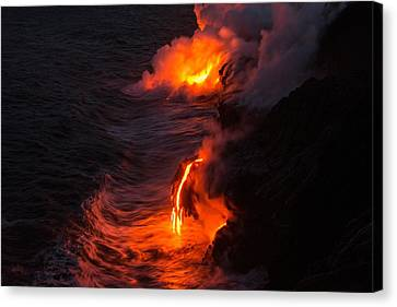 Kilauea Volcano Lava Flow Sea Entry - The Big Island Hawaii Canvas Print by Brian Harig