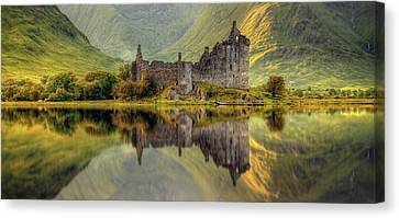 Kilchurn Castle Reflection In Loch Awe Canvas Print by Panoramic Images