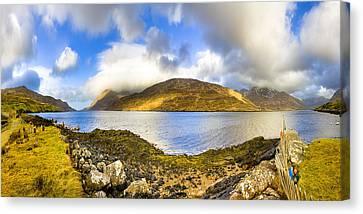 Killary Fjord - Irish Panorama Canvas Print by Mark E Tisdale