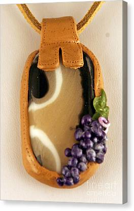 Kilnformed Glass And Polymer Clay Pendant Ss01111101 Canvas Print by P Russell