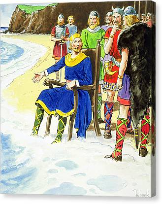King Canute From Peeps Into The Past Canvas Print by Trelleek