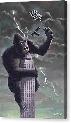 Cartoon Canvas Print featuring the painting King Kong Plane Swatter by Martin Davey