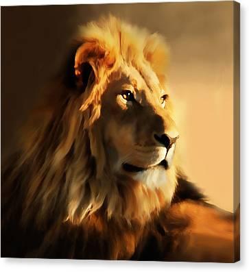King Lion Of Africa Canvas Print by Georgiana Romanovna