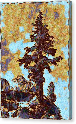Kings River Canyon Colorized Canvas Print by Ansel Adams