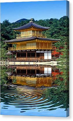 Kinkakuji Gold Pavilion Reflection Canvas Print by Robert Jensen