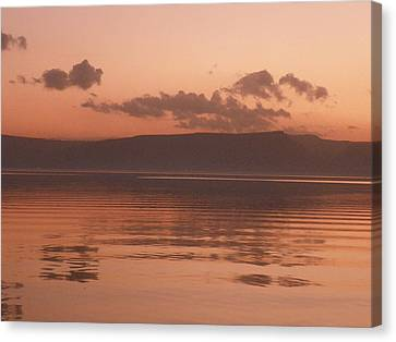 Kinneret Ripples At Dusk Canvas Print by Noreen HaCohen