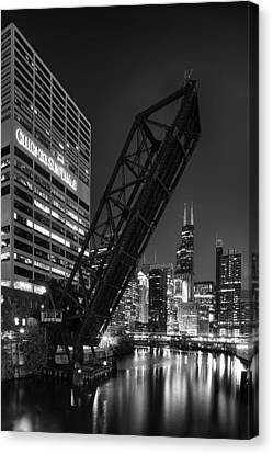 Kinzie Street Railroad Bridge At Night In Black And White Canvas Print by Sebastian Musial
