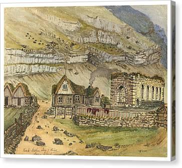 Kirk G Boe Inn And Ruins Faroe Island Circa 1862 Canvas Print by Aged Pixel