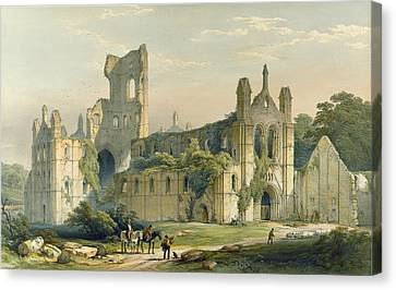 Kirkstall Abbey From The North West Canvas Print by William Richardson