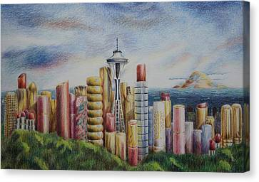Kiss Of Seattle Canvas Print by Mary Jo Jung