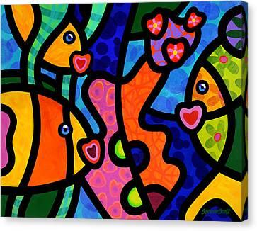 Kissing Fish Reef Canvas Print by Steven Scott