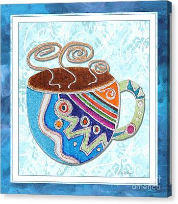 Kitchen Cuisine Hot Cuppa No20 By Romi And Megan Canvas Print by Megan Duncanson