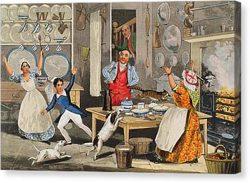 Kitchen Scene Canvas Print by Henry Thomas Alken