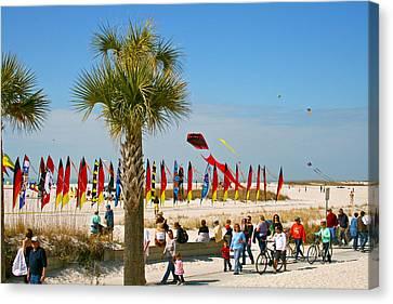 Kite Day At St. Pete Beach Canvas Print by Greg Joens