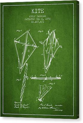 Kite Patent From 1892 - Green Canvas Print by Aged Pixel