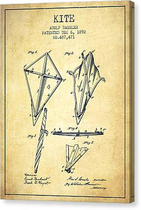 Kite Patent From 1892 - Vintage Canvas Print by Aged Pixel