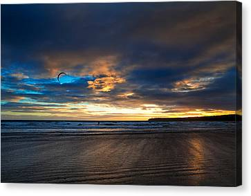 Kite Surfers On Tramore Beach Canvas Print by Panoramic Images