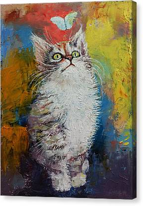 Kitten And Butterfly Canvas Print by Michael Creese