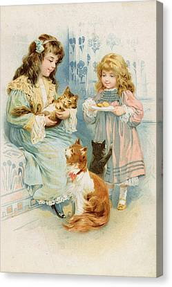 Kittens Tea Party  Canvas Print by Anonymous