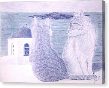 Kitties In Santorini Canvas Print by Cybele Chaves