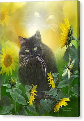Kitty In The Sunflowers Canvas Print by Carol Cavalaris