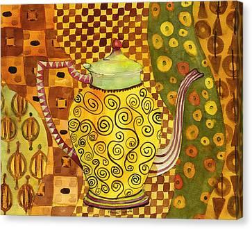 Klimt Style Teapot Blenda Studio Canvas Print by Blenda Studio