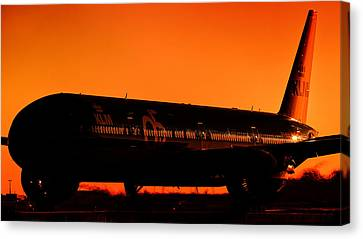 Klm 95-years Boeing B77w At Sunrise.  Canvas Print by Kelyn Yeutukhovich