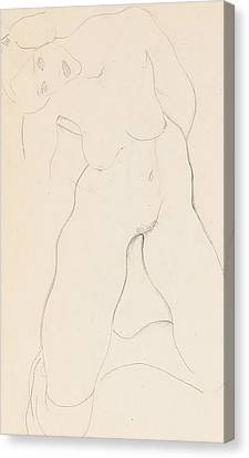 Kneeling Female Nude Canvas Print by Egon Schiele
