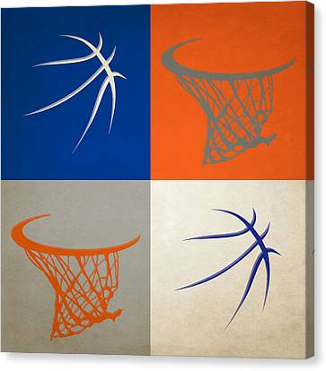 Knicks Ball And Hoop Canvas Print by Joe Hamilton