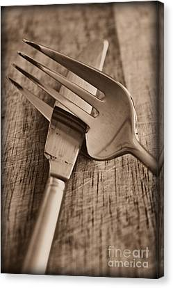 Knife And Fork Canvas Print by Clare Bevan