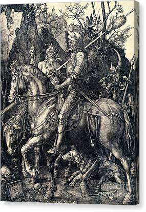 Knight Death And The Devil Canvas Print by Albrecht Durer