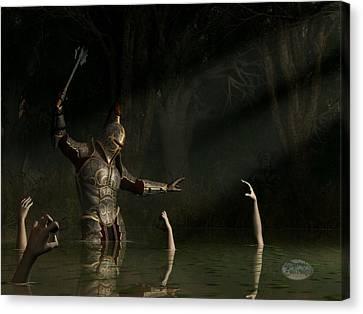 Knight In A Haunted Swamp Canvas Print by Daniel Eskridge