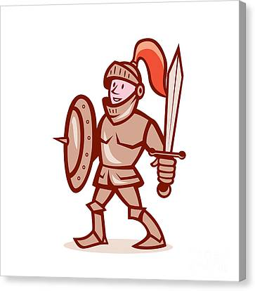 Knight Shield Sword Cartoon Canvas Print by Aloysius Patrimonio