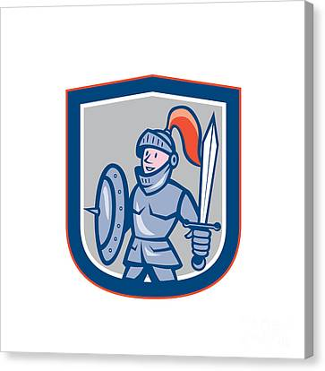 Knight Shield Sword Shield Cartoon Canvas Print by Aloysius Patrimonio