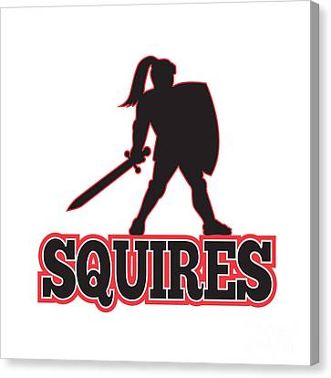 Knight Silhouette Squires Sword Shield Cartoon Canvas Print by Aloysius Patrimonio