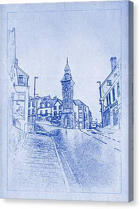 Knighton Clock Tower Blueprint Canvas Print by Kaleidoscopik Photography