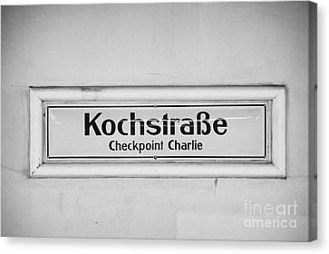 Kochstrasse Checkpoint Charlie Berlin U-bahn Underground Railway Station Name Germany Canvas Print by Joe Fox