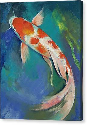 Kohaku Butterfly Koi Canvas Print by Michael Creese