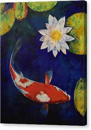 Kohaku Koi And Water Lily Canvas Print by Michael Creese