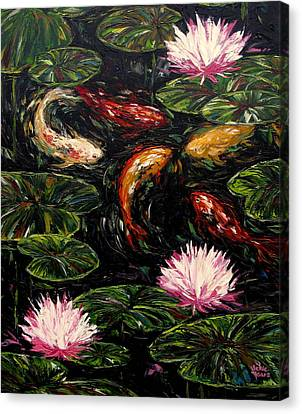 Koi And Lotus Blossoms Canvas Print by Vickie Fears